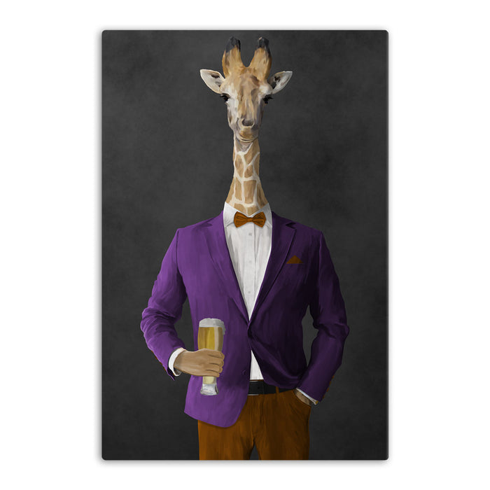 Giraffe drinking beer wearing purple and orange suit canvas wall art