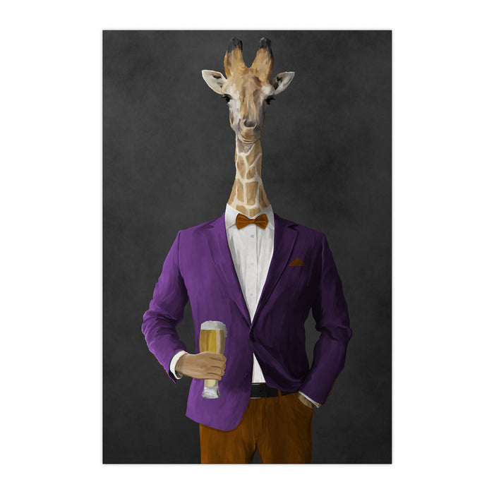 Giraffe drinking beer wearing purple and orange suit large wall art print