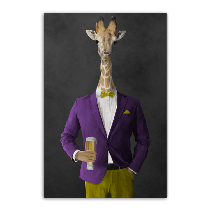 Giraffe drinking beer wearing purple and yellow suit canvas wall art