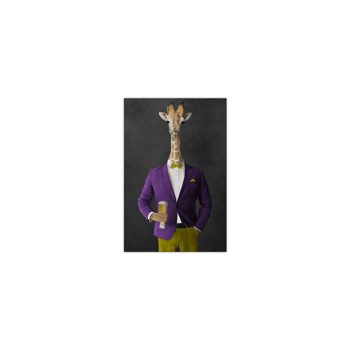 Giraffe drinking beer wearing purple and yellow suit small wall art print