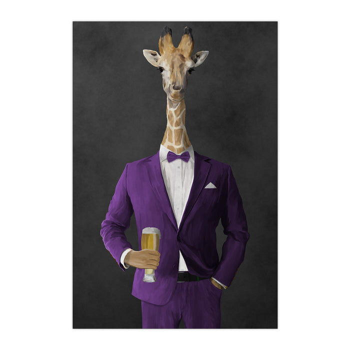 Giraffe drinking beer wearing purple suit large wall art print