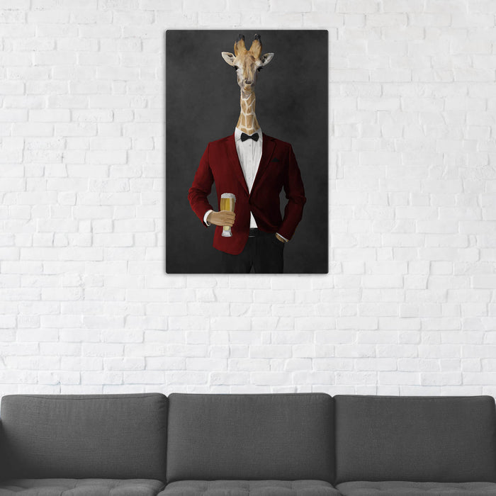 Giraffe Drinking Beer Wall Art - Red and Black Suit