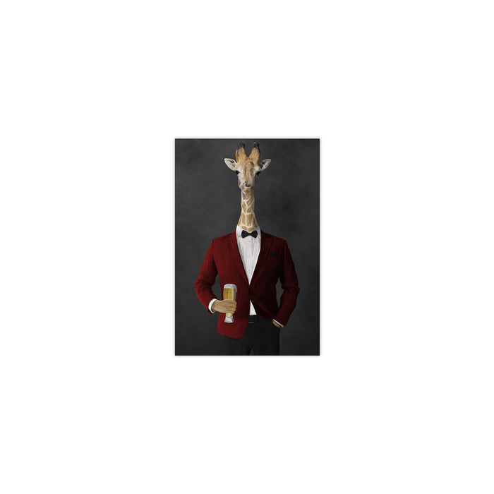 Giraffe drinking beer wearing red and black suit small wall art print