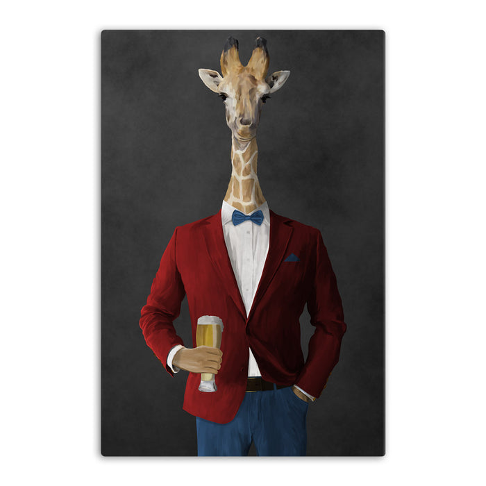 Giraffe drinking beer wearing red and blue suit canvas wall art