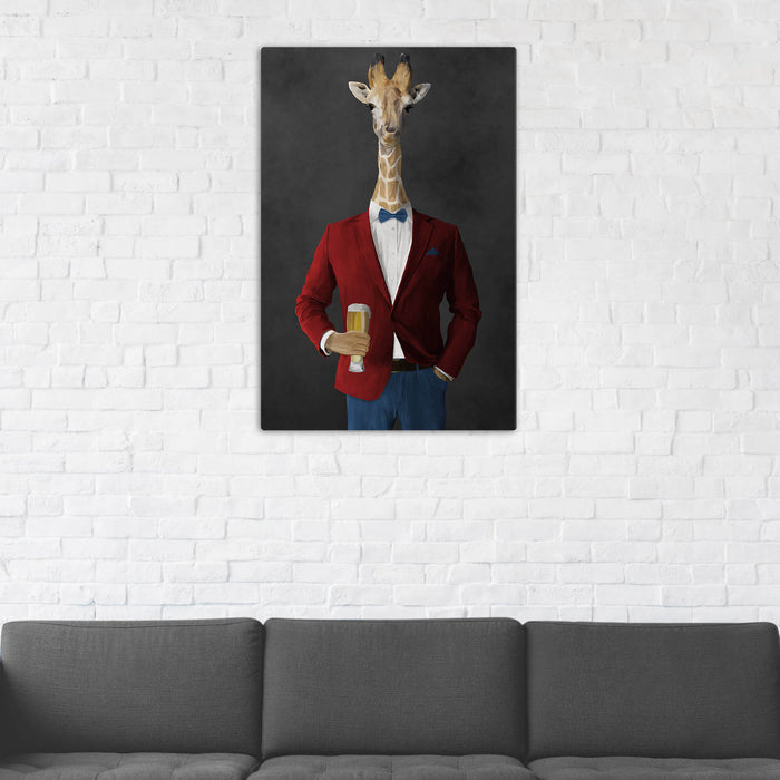 Giraffe Drinking Beer Wall Art - Red and Blue Suit