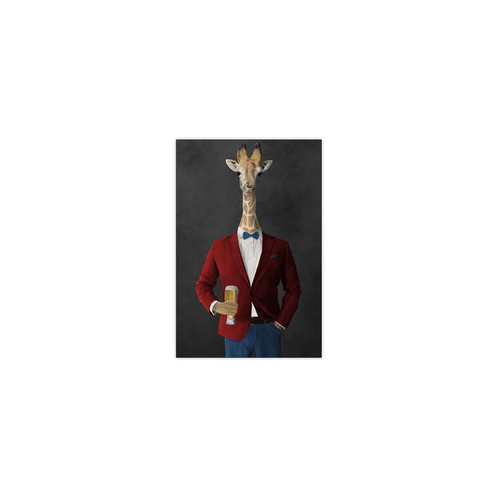 Giraffe drinking beer wearing red and blue suit small wall art print