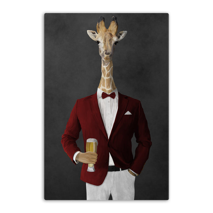 Giraffe drinking beer wearing red and white suit canvas wall art