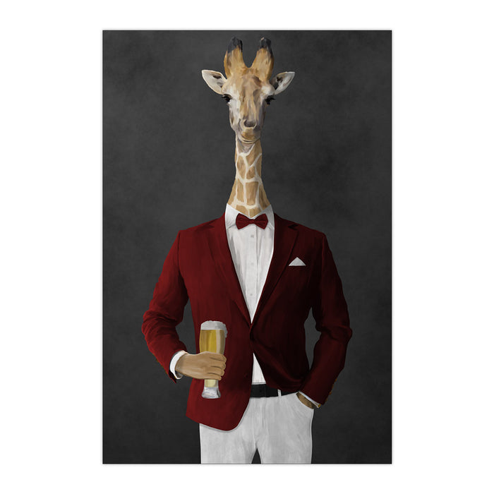 Giraffe drinking beer wearing red and white suit large wall art print