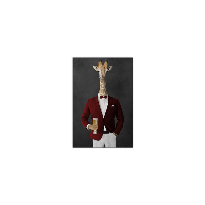 Giraffe drinking beer wearing red and white suit small wall art print