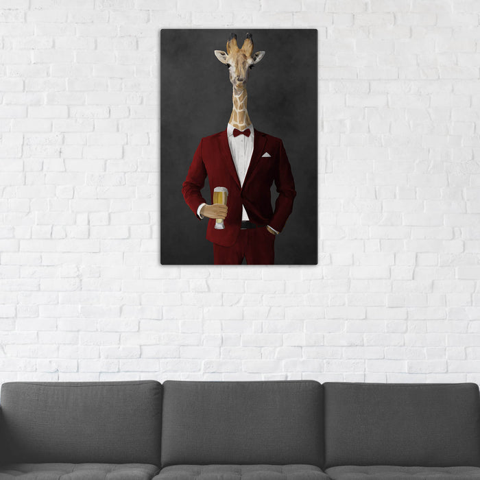 Giraffe Drinking Beer Wall Art - Red Suit