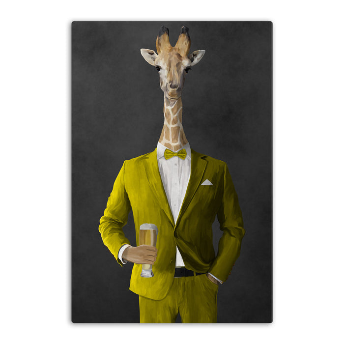 Giraffe drinking beer wearing yellow suit canvas wall art