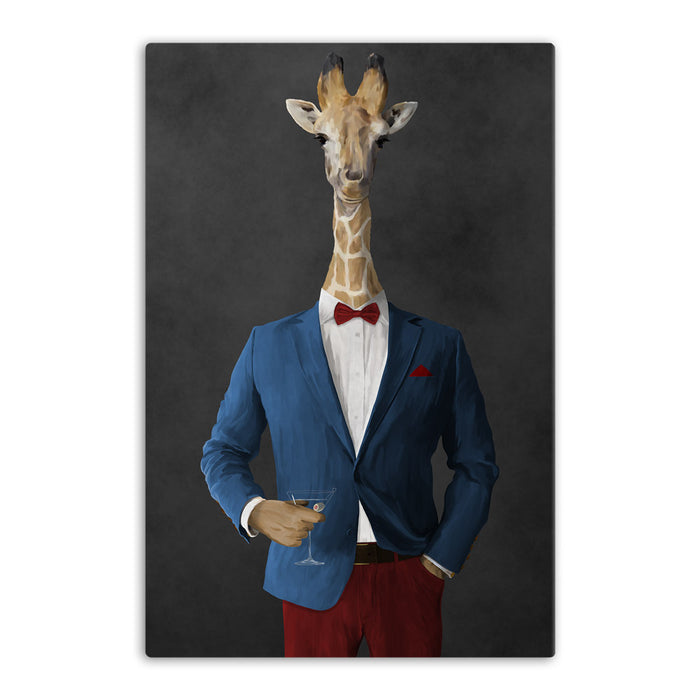 Giraffe drinking martini wearing blue and red suit canvas wall art