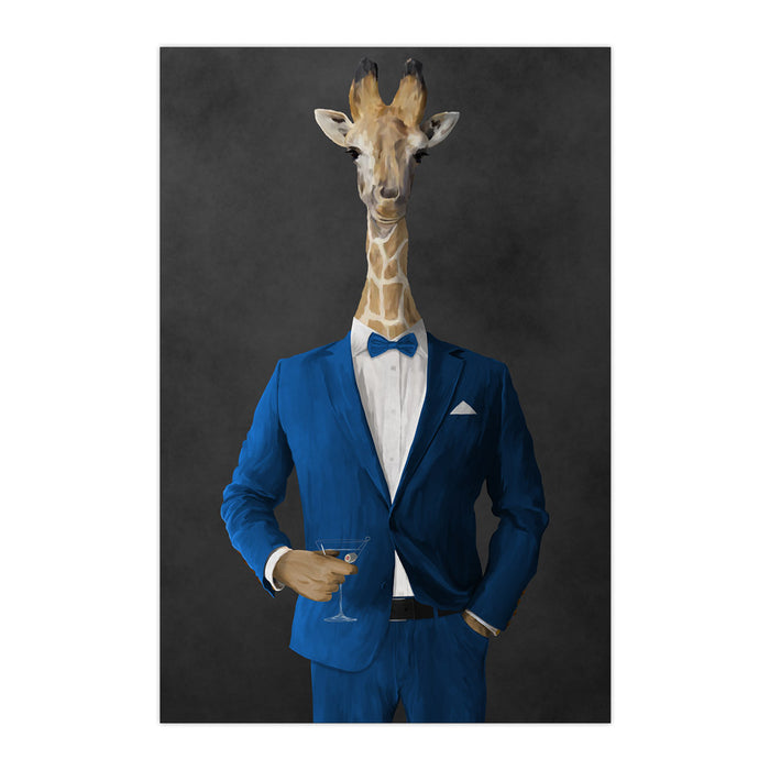 Giraffe drinking martini wearing blue suit large wall art print