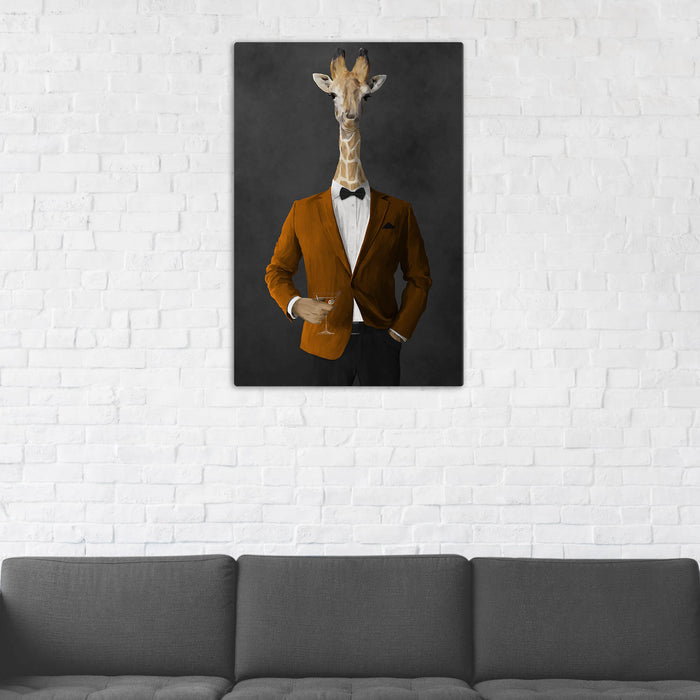 Giraffe Drinking Martini Wall Art - Orange and Black Suit