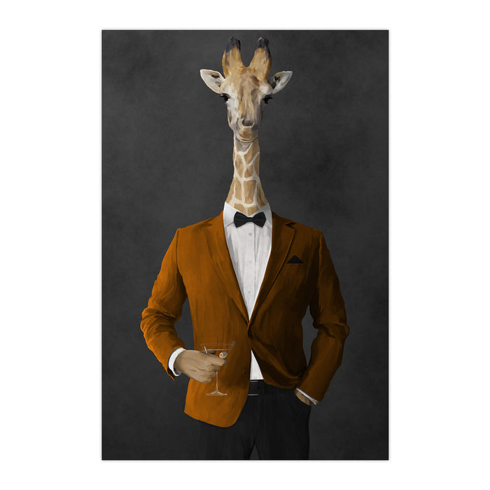 Giraffe drinking martini wearing orange and black suit large wall art print