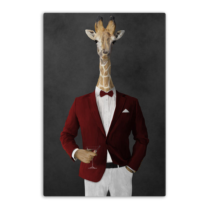 Giraffe drinking martini wearing red and white suit canvas wall art