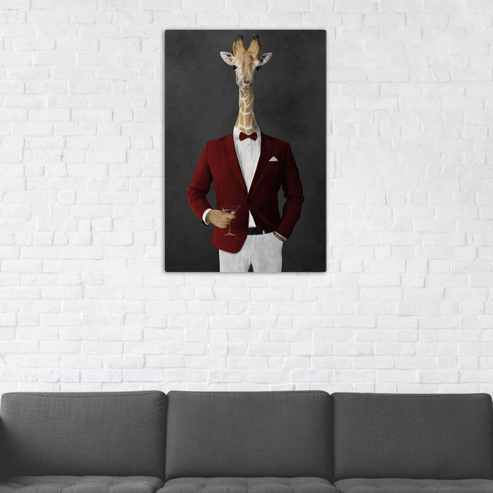 Giraffe Drinking Martini Wall Art - Red and White Suit