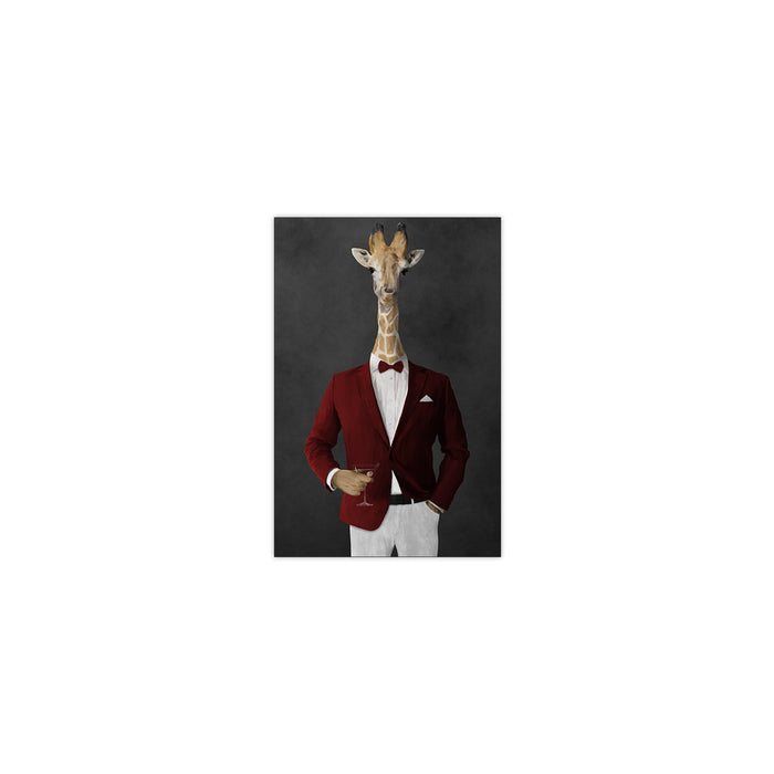 Giraffe drinking martini wearing red and white suit small wall art print
