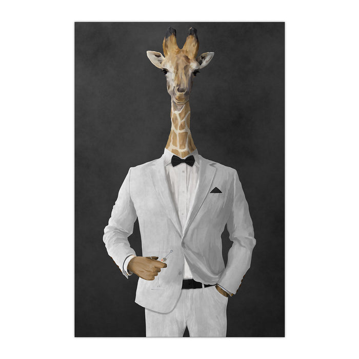 Giraffe drinking martini wearing white suit large wall art print