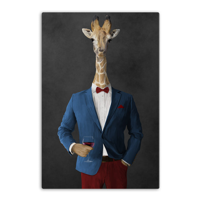 Giraffe drinking red wine wearing blue and red suit canvas wall art