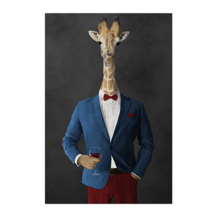 Giraffe drinking red wine wearing blue and red suit large wall art print
