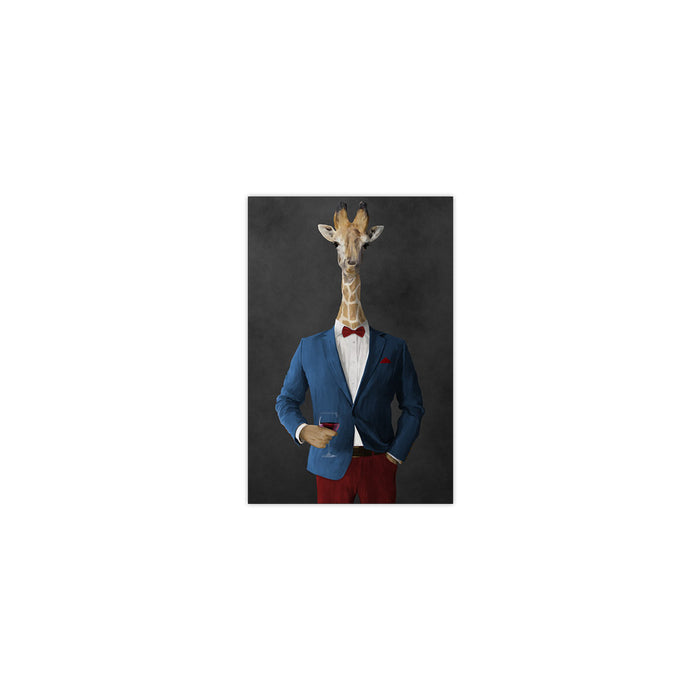 Giraffe drinking red wine wearing blue and red suit small wall art print