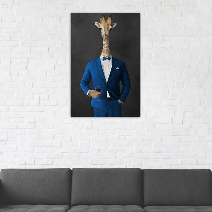 Giraffe Drinking Red Wine Wall Art - Blue Suit