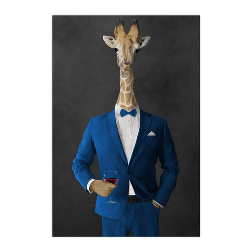 Giraffe drinking red wine wearing blue suit large wall art print