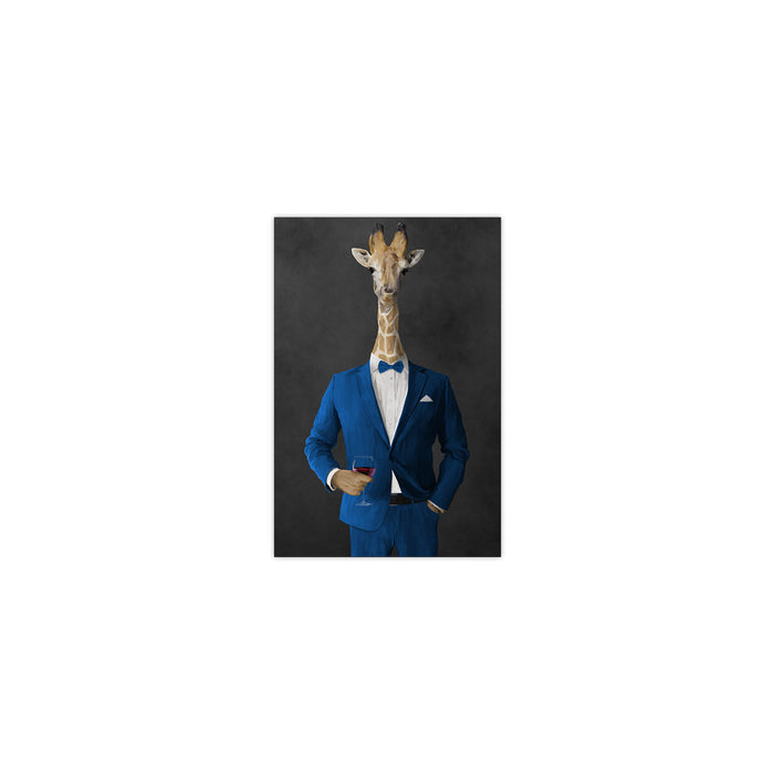 Giraffe drinking red wine wearing blue suit small wall art print
