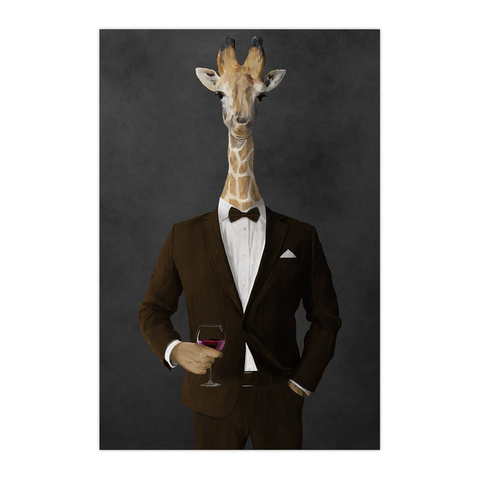 Giraffe drinking red wine wearing brown suit large wall art print