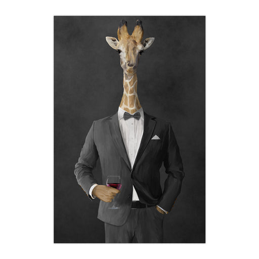 Giraffe drinking red wine wearing gray suit large wall art print
