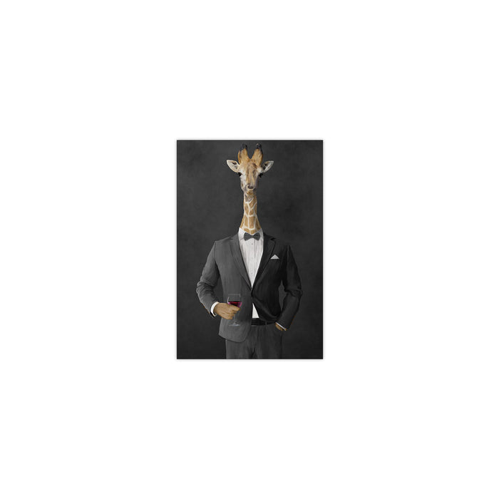 Giraffe drinking red wine wearing gray suit small wall art print