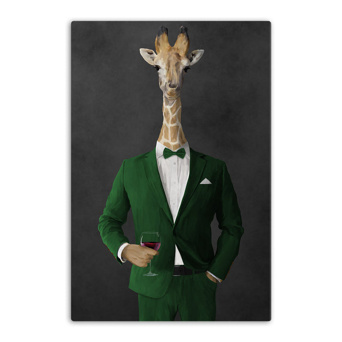 Giraffe drinking red wine wearing green suit canvas wall art