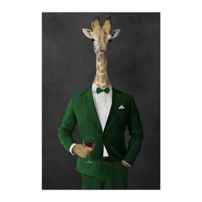 Giraffe drinking red wine wearing green suit large wall art print