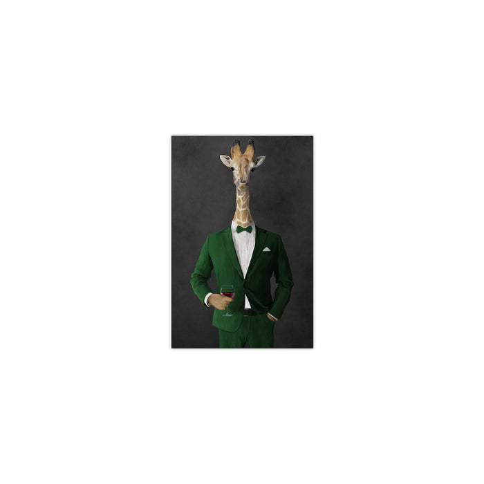 Giraffe drinking red wine wearing green suit small wall art print