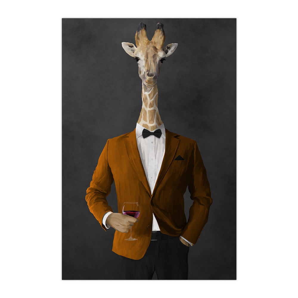 Giraffe drinking red wine wearing orange and black suit large wall art print