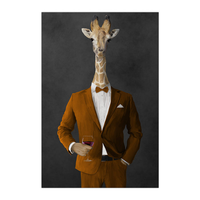 Giraffe drinking red wine wearing orange suit large wall art print