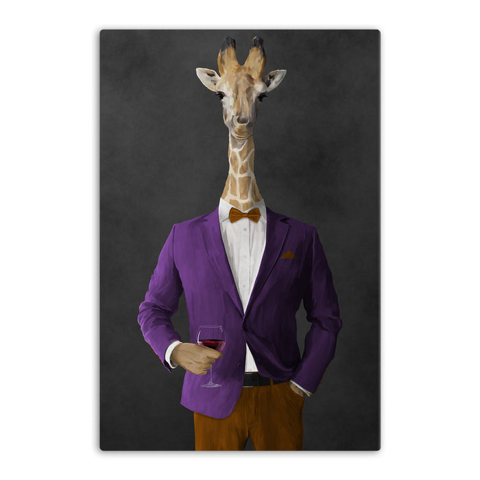 Giraffe drinking red wine wearing purple and orange suit canvas wall art