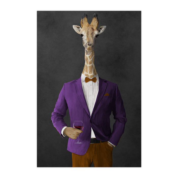 Giraffe drinking red wine wearing purple and orange suit large wall art print