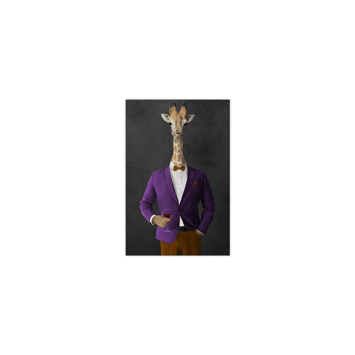 Giraffe drinking red wine wearing purple and orange suit small wall art print