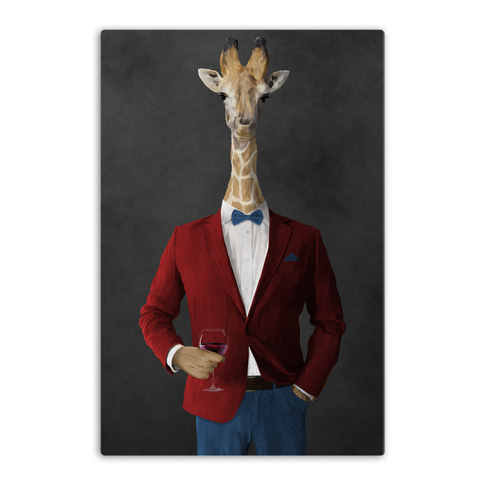 Giraffe drinking red wine wearing red and blue suit canvas wall art