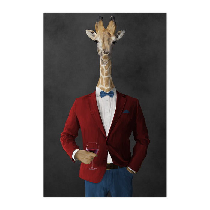 Giraffe drinking red wine wearing red and blue suit large wall art print