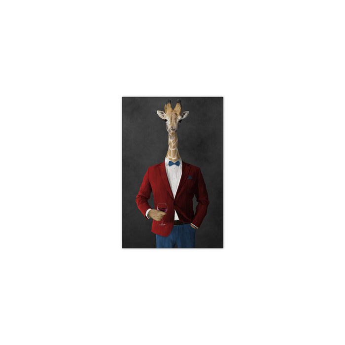 Giraffe drinking red wine wearing red and blue suit small wall art print