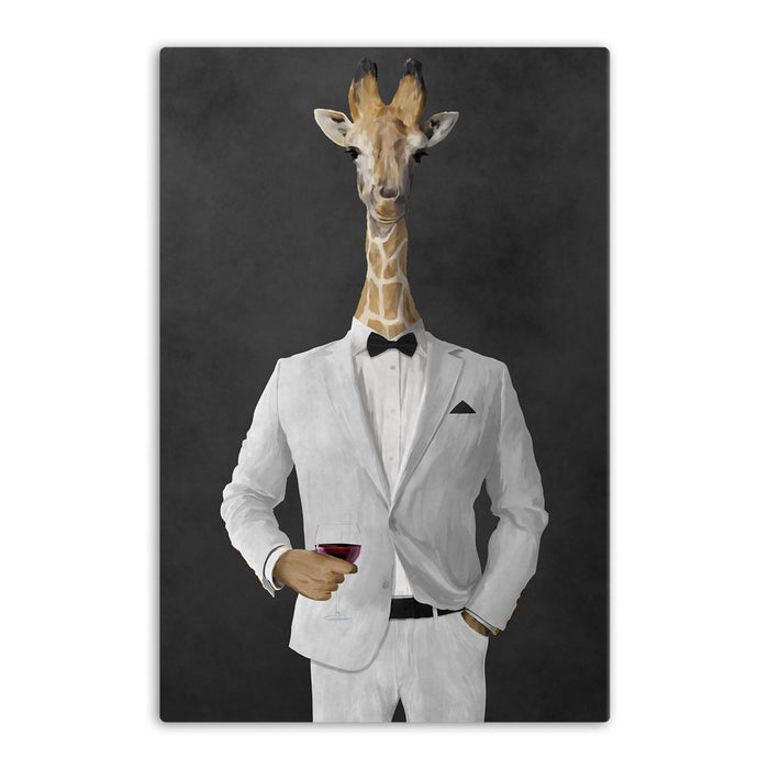 Giraffe drinking red wine wearing white suit canvas wall art