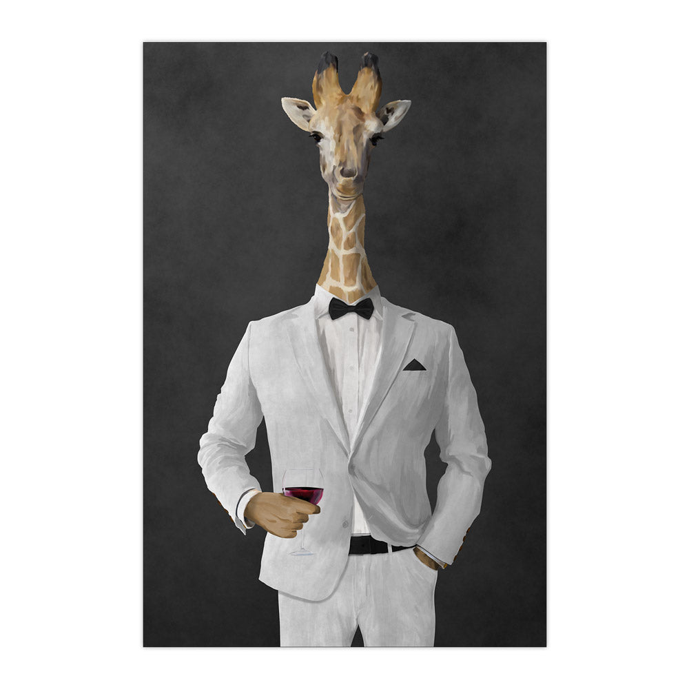 Giraffe drinking red wine wearing white suit large wall art print