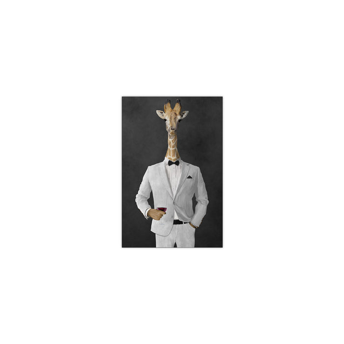 Giraffe drinking red wine wearing white suit small wall art print