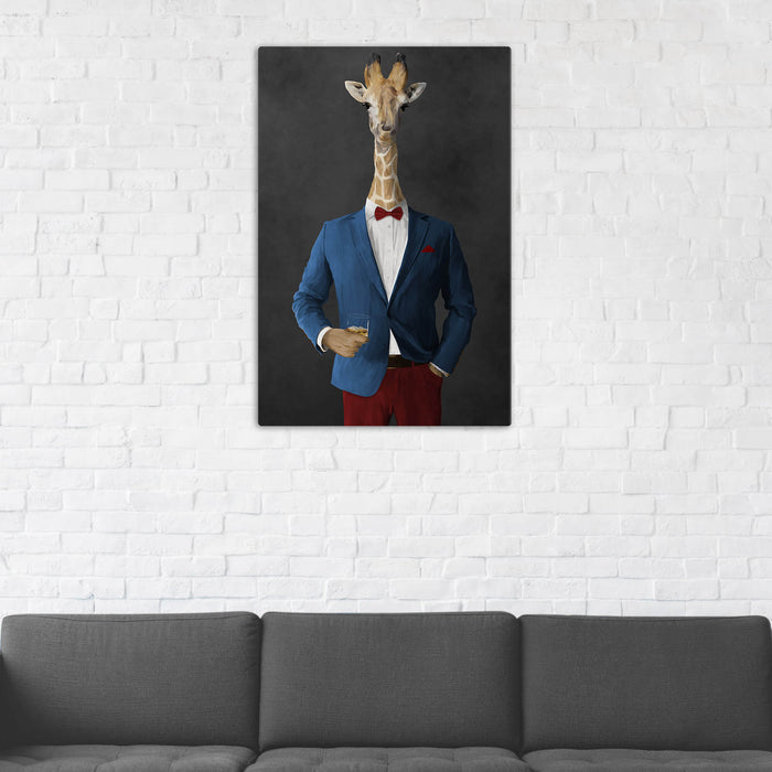 Giraffe Drinking Whiskey Wall Art - Blue and Red Suit