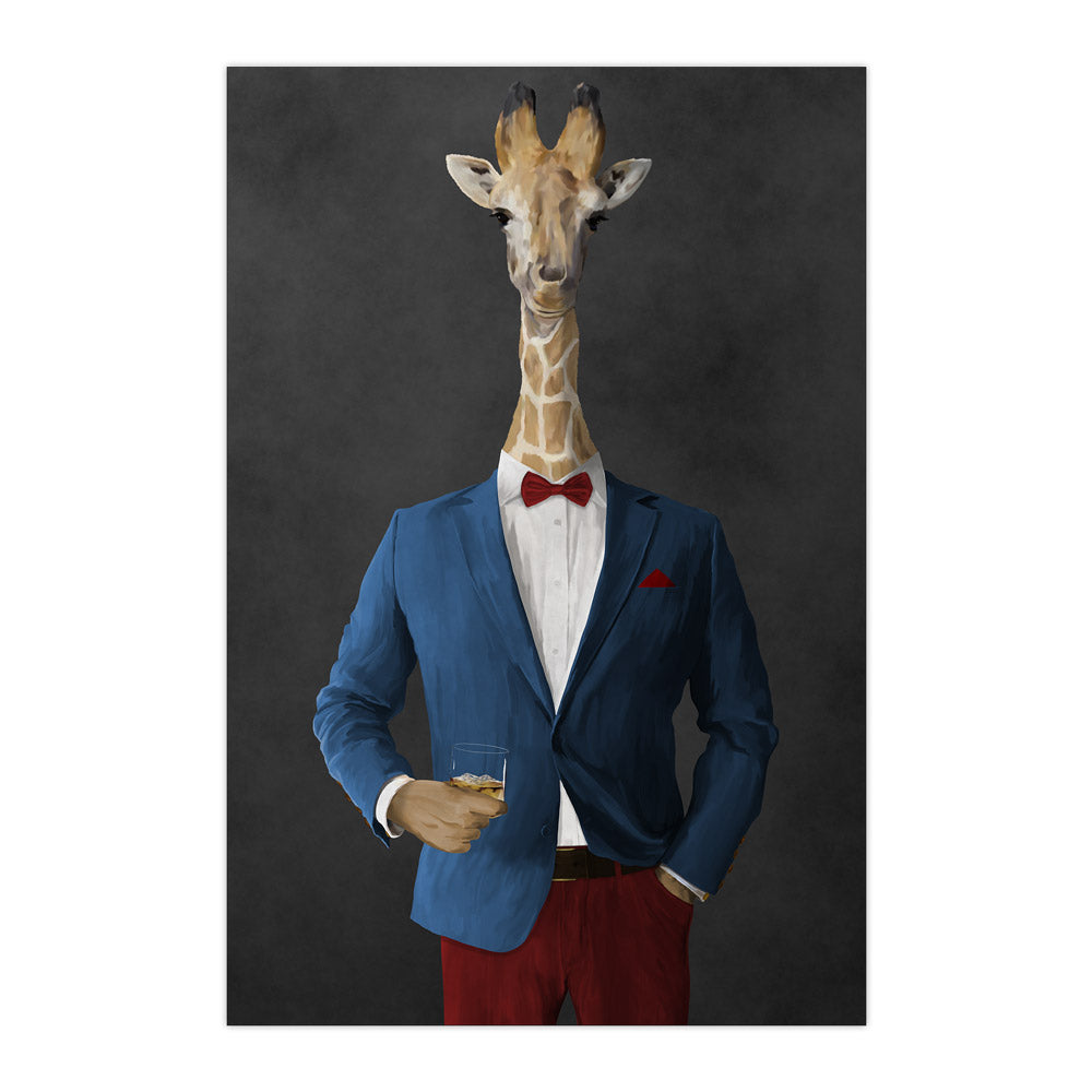 Giraffe drinking whiskey wearing blue and red suit large wall art print