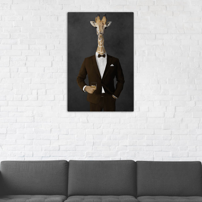 Giraffe Drinking Whiskey Wall Art - Brown Suit