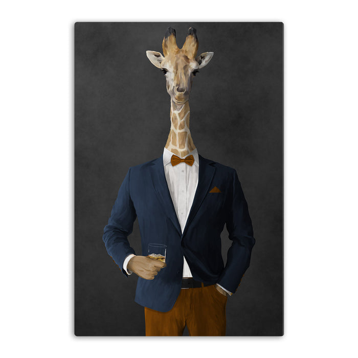 Giraffe drinking whiskey wearing navy and orange suit canvas wall art